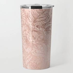 Society6 Modern Rose Gold Floral Illustration On Blush Pink Travel Coffee Mug by Girly Trend By Audrey Chenal - 20 oz