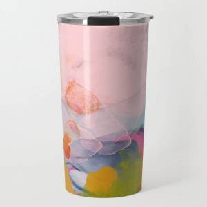 Society6 Pastel Pink Landscape Abstract Travel Coffee Mug by Lalunetricotee Art Paintings - 20 oz