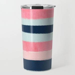 Society6 Striped Painted Coral Mint Navy Pink Pattern Stripes Minimalist Travel Coffee Mug by Charlottewinter - 20 oz