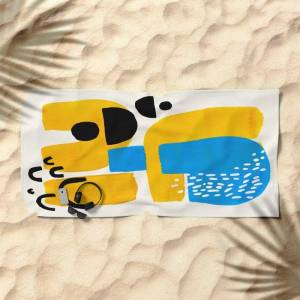 Society6 Mid Century Modern Abstract Minimalist Fun Colorful Shapes Patterns Ikea Yellow & Blue Oversized Beach Towel by Enshape - Beach Towel
