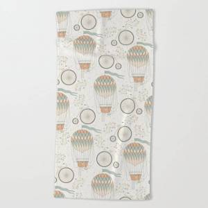 Society6 Vintage Wonderland - Hot Air Balloon Oversized Beach Towel by Shirts And Date Of Birth-by-frankenberg - Beach Towel