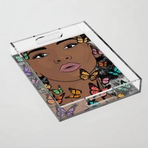 """Society6 You Give Me Butterflies Clear Acrylic Organizer/serving Tray by The King Gallery - Medium 15 1/2"""" x 12"""""""