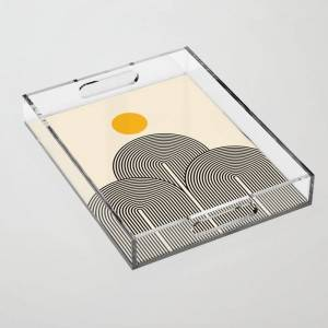 """Society6 Abstraction_new_sun_line_pop_art_minimalism_033bs Clear Acrylic Organizer/serving Tray by Forgetme - Medium 15 1/2"""" x 12"""""""