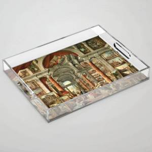 Society6 Giovanni Paolo Pannini 19th Century Masterpiece: Picture Gallery With Views Of Modern Rome Clear Acrylic Organizer/serving Tray by Jeanpaul Ferro - Me