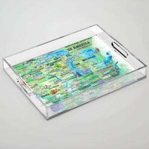"""Society6 Usa Midwest States Travel Map Mn Wi Mi Ia Ky Il In Oh Mo With_highlights Clear Acrylic Organizer/serving Tray by Artshop77 - Medium 15 1/2"""" x 12"""""""