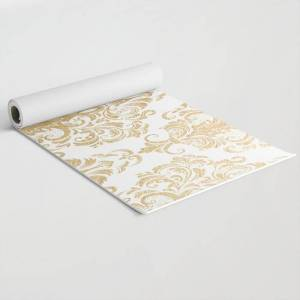 "Society6 Gold Foil Swirls Damask 15 Exercise/travel Yoga Mat by Juliana Rw - 24"" x 70"""
