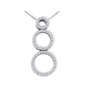 SuperJeweler 1/2 Carat Triple Circle Diamond Pendant Necklace in 14k White Gold (3.5 g), 4 Star, , 18 Inch Chain by SuperJeweler