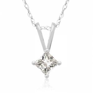 Hansa 1/5 Carat 14k White Gold Princess Cut Diamond Pendant Necklace, G/H Color, 18 Inch Chain by SuperJeweler