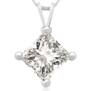 Hansa 2 Carat 14k White Gold Princess Cut Diamond Pendant Necklace, G/H Color, 18 Inch Chain by SuperJeweler