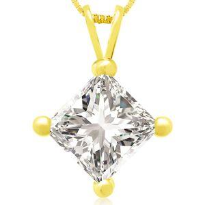 Hansa 2 Carat 14k Yellow Gold Princess Cut Diamond Pendant Necklace, G/H Color, 18 Inch Chain by SuperJeweler