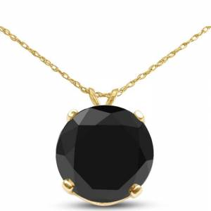 SuperJeweler 1.5 Carat Black Diamond Solitaire Pendant Necklace in 14k Yellow Gold (1.4 g), 18 Inch Chain by SuperJeweler
