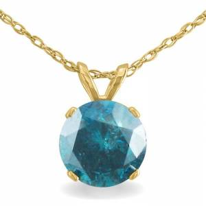 Hansa 1.5 Carat Blue Diamond Solitaire Pendant Necklace, 14k Yellow Gold (1.4 g), 18 Inch Chain by SuperJeweler