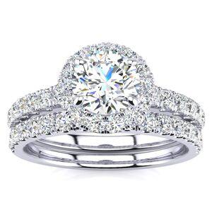 SuperJeweler 1.5 Carat Pave Halo Diamond Bridal Engagement Ring Set in 14k White Gold (, SI2-I1) by SuperJeweler