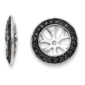 SuperJeweler 14K White Gold Black Diamond Earring Jackets, Fits 3 3/4-4 Carat Stud Earrings by SuperJeweler