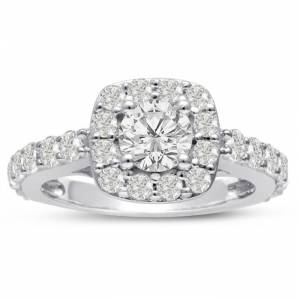 SuperJeweler 1 3/4 Carat Halo Diamond Engagement Ring Crafted in 14K White Gold (5.8 g),  by SuperJeweler