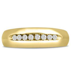 SuperJeweler Men's 1/4 Carat Diamond Wedding Band in Yellow Gold, G-H Color, , 7.18mm Wide by SuperJeweler