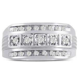 SuperJeweler Men's 4/10 Carat Diamond Wedding Band in 14K White Gold, G-H Color, , 11.03mm Wide by SuperJeweler