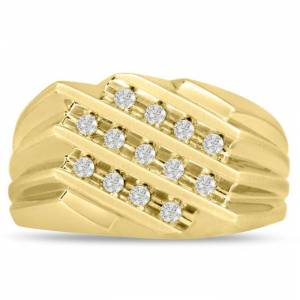 SuperJeweler Men's 1/2 Carat Diamond Wedding Band in Yellow Gold, G-H Color, , 11.87mm Wide by SuperJeweler