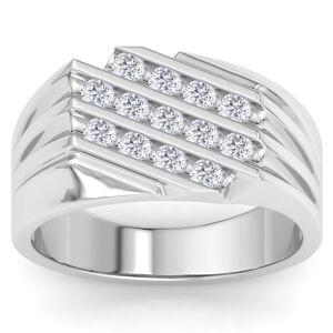 SuperJeweler Men's 1/2 Carat Diamond Wedding Band in 14K White Gold, G-H Color, , 11.87mm Wide by SuperJeweler