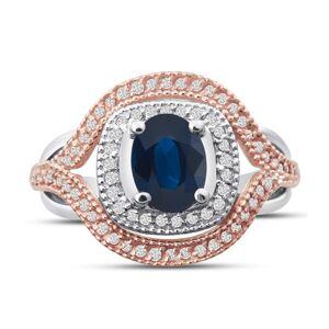SuperJeweler 1 Carat Oval Shape Sapphire & Diamond Ring in 14K White & Rose Gold, G/H Color by SuperJeweler