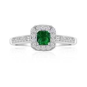 Hansa 2/3 Carat Emerald Cut & Diamond Princess Cut Engagement Ring in 14k White Gold (, SI2-I1) by SuperJeweler