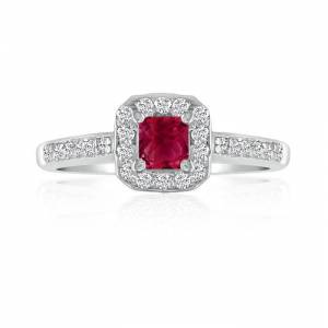 Hansa 2/3 Carat Ruby & Diamond Princess Cut Engagement Ring in 14k White Gold (, SI2-I1) by SuperJeweler
