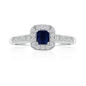 Hansa 2/3 Carat Sapphire & Diamond Princess Cut Engagement Ring in 14k White Gold (, SI2-I1) by SuperJeweler