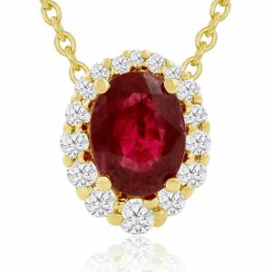Hansa 2.90 Carat Fine Quality Ruby & Diamond Necklace in 14K Yellow Gold (2.9 g), , 18 Inch Chain by SuperJeweler