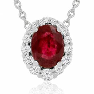 Hansa 2.90 Carat Fine Quality Ruby & Diamond Necklace in 14K White Gold (2.9 g), , 18 Inch Chain by SuperJeweler