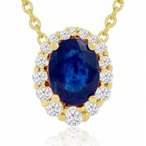 Hansa 2.90 Carat Fine Quality Sapphire & Diamond Necklace in 14K Yellow Gold (2.9 g), , 18 Inch Chain by SuperJeweler