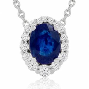 Hansa 2.90 Carat Fine Quality Sapphire & Diamond Necklace in 14K White Gold (2.9 g), , 18 Inch Chain by SuperJeweler