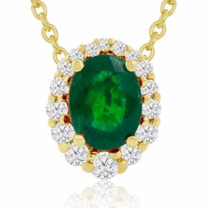 Hansa 2.90 Carat Fine Quality Emerald Cut & Diamond Necklace in 14K Yellow Gold (2.9 g), , 18 Inch Chain by SuperJeweler