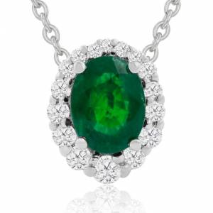 Hansa 2.90 Carat Fine Quality Emerald Cut & Diamond Necklace in 14K White Gold (2.9 g), , 18 Inch Chain by SuperJeweler