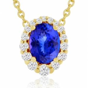 Hansa 2.90 Carat Fine Quality Tanzanite & Diamond Necklace in 14K Yellow Gold (2.9 g), , 18 Inch Chain by SuperJeweler