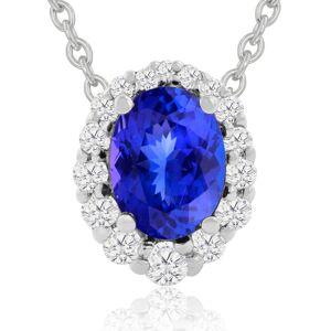 Hansa 2.90 Carat Fine Quality Tanzanite & Diamond Necklace in 14K White Gold (2.9 g), , 18 Inch Chain by SuperJeweler