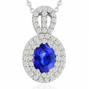 Hansa 3.50 Carat Fine Quality Tanzanite & Diamond Necklace in 14K White Gold (8.9 g), , 18 Inch Chain by SuperJeweler