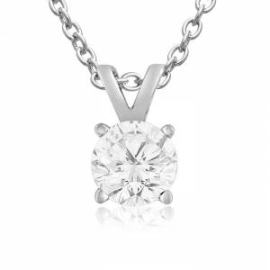 SuperJeweler 3/4 Carat 14k White Gold (1 Gram) Diamond Pendant Necklace, , 18 Inch Chain by SuperJeweler