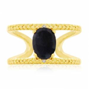 SuperJeweler 1.6 Carat Sapphire & Diamond Open Shank Ring in 14K Yellow Gold Over Sterling Silver, , Size 7 by SuperJeweler