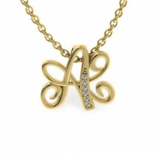 SuperJeweler A Initial Necklace in Yellow Gold (2.2 g) w/ 6 Diamonds, , 18 Inch Chain by SuperJeweler