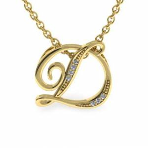 SuperJeweler D Initial Necklace in Yellow Gold (2.2 g) w/ 7 Diamonds, , 18 Inch Chain by SuperJeweler