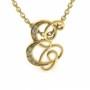 SuperJeweler E Initial Necklace in Yellow Gold (2.2 g) w/ 7 Diamonds, , 18 Inch Chain by SuperJeweler