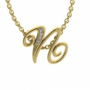 SuperJeweler N Initial Necklace in Yellow Gold (2.2 g) w/ 5 Diamonds, , 18 Inch Chain by SuperJeweler