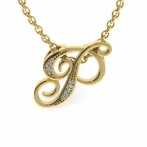 SuperJeweler P Initial Necklace in Yellow Gold (2.2 g) w/ 7 Diamonds, , 18 Inch Chain by SuperJeweler