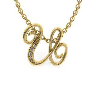 SuperJeweler U Initial Necklace in Yellow Gold (2.2 g) w/ 4 Diamonds, , 18 Inch Chain by SuperJeweler