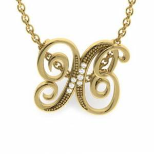 SuperJeweler X Initial Necklace in Yellow Gold (2.2 g) w/ 7 Diamonds, , 18 Inch Chain by SuperJeweler