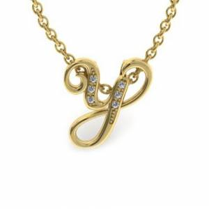 SuperJeweler Y Initial Necklace in Yellow Gold (2.2 g) w/ 6 Diamonds, , 18 Inch Chain by SuperJeweler