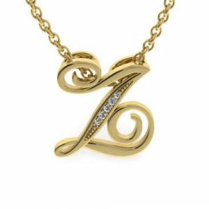SuperJeweler Z Initial Necklace in Yellow Gold (2.2 g) w/ 5 Diamonds, , 18 Inch Chain by SuperJeweler