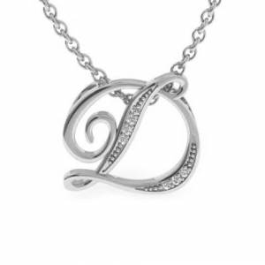 SuperJeweler D Initial Necklace in White Gold (2.2 g) w/ 7 Diamonds, , 18 Inch Chain by SuperJeweler