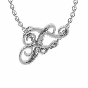 SuperJeweler F Initial Necklace in White Gold (2.2 g) w/ 5 Diamonds, , 18 Inch Chain by SuperJeweler