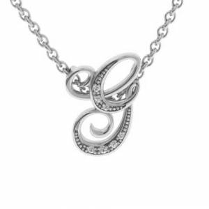 SuperJeweler G Initial Necklace in White Gold (2.2 g) w/ 7 Diamonds, , 18 Inch Chain by SuperJeweler
